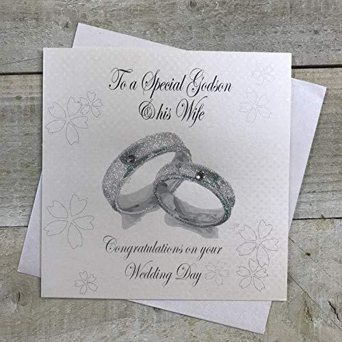 witte katoenen kaarten naar een speciale Godson & zijn vrouw Gefeliciteerd dag, handgemaakte kaart (Wedding Bands)