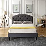 Classic Brands Cranleigh Upholstered Platform Bed | Headboard and Metal Frame with Wood Slat Support, King, Grey