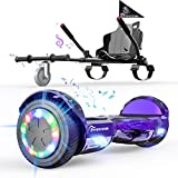 EverCross Hoverboard, Hoverboard for Adults, Hoverboard with Seat Attachment, 6.5' Hover Board Self Balancing Scooter with Bluetooth Speaker & LED Lights, Suit for Adults and Kids (Purple)
