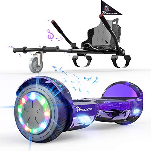"EverCross Hoverboard, Hoverboard for Adults, Hoverboard with Seat Attachment, 6.5"" Hover Board Self Balancing Scooter with Bluetooth Speaker & LED Lights, Suit for Adults and Kids (Purple)"
