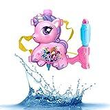 Amycute Mochila Pistola de Agua, Mochila Pony y Pistola de Agua Roja, Juguete de Rafting del Aire Libre para Niños