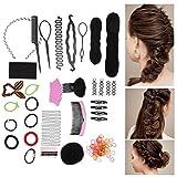 Juego de 20 piezas para peinar el cabello, peinar el cabello herramienta de peluquería giros trenza accesorio para el cabello fabricante de moños diseño de cabello herramientas para peinar