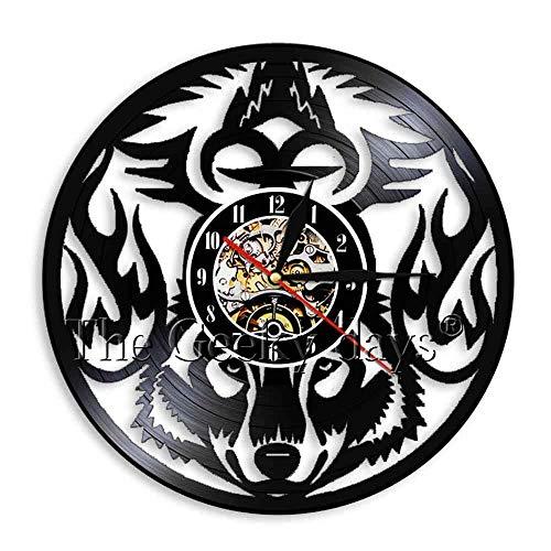 GXYtable cloth Wolf Silueta 3D Reloj de Pared Lobo Llamada Salvaje Animal Animal Vinilo Reloj Reloj Hecho A Mano Sala Interior Decoración de Arte de Pared