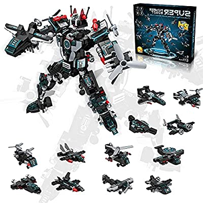 STEM Robot Toys for 6 7 8 9 10 11 12 Year Old Boys 611 Pcs 25-in-1 Building Robot Toys for Boys Creative Aircraft Blocks Model Improve Creativity and Imagination for Boys Best Gifts for Boys Age 6+ by linxi