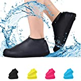 Waterproof Shoe Covers, Non-Slip Water Resistant Overshoes Silicone Rubber Rain Shoe Cover Protectors for Kids, Men, Women (Small, black)