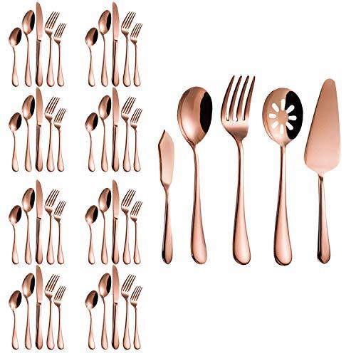 Magicpro Besteck Set,Rose Gold Besteck Set, Edelstahl Set Service für 8 Personen, 45 Stück Esszimmer Bestec