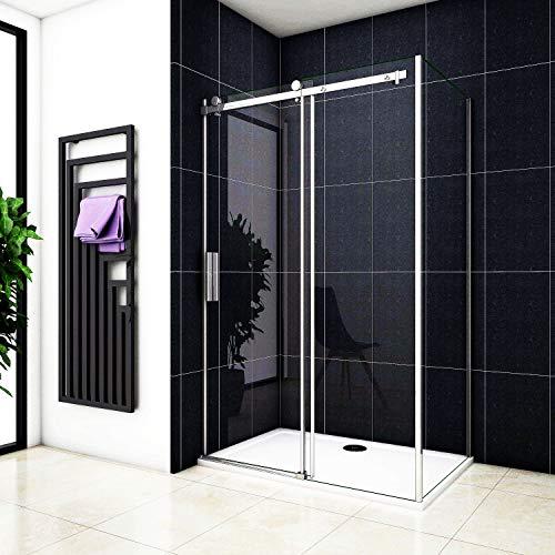 Aica Sanitär Duschabtrennung Duschkabine Eckeinstieg Eckkabine 8mm Nano glas Schiebetür (120x80cm,H195cm)