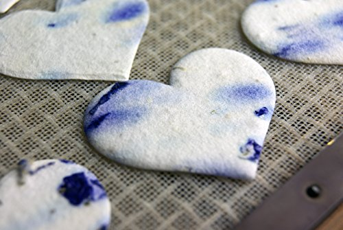 Small Purple/Blue Heart Shape Seed Embedded Cotton Handmade Paper Tags (Set of 100) #04s