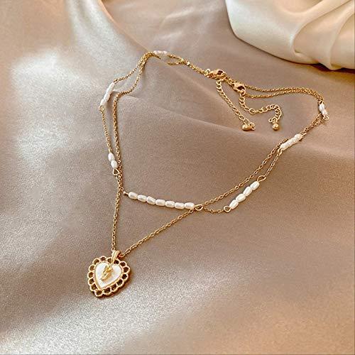 Varitystore Collar de perlas de nácar personalidad temperamento moda clavícula cadena doble capa collar femenino