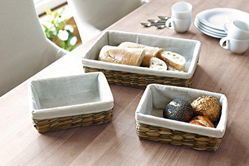 3tlg. Korb Set aus Wasserhyazinthe & Bambus, mit Textileinlage, ideal geeignet als Brotkörbchen oder Dekokorb