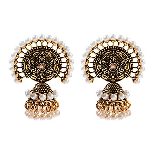 SONGK Pendientes de Borla de Cuentas Blancas de Mujeres Indias Antiguas, aleación de Oro Gitana étnica, Gran círculo, Campana, Pendiente de Gota, joyería de Moda
