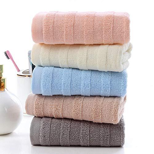 Fuduoduo Toallas Premium 100% algodón,Toalla Absorbente Suave para el hogar de algodón a Rayas Lisas 34 * 75-Color Mezclado 5 Piezas,Suave Y Grueso Altamente AlgodóN Toalla