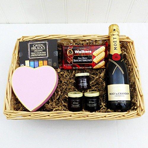 Moet Champagne Gift Basket with Deli - Regalo di compleanno, come ringraziamento bello, per il meglio, per l'inaugurazione, l'impegno, la festa della mamma