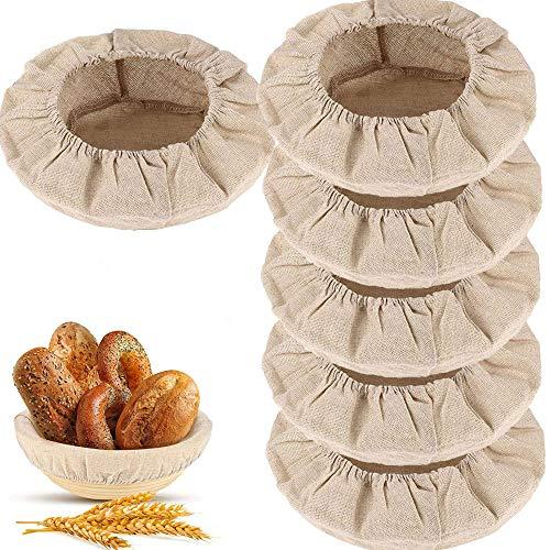 Snowtain 6Piezas AlgodóN Lino Prueba Pan Cesta Pasta FermentacióN Bolsa,Forro de Tela de Cesta de Panificación cubierta de cesta de Masa Tela de Paño Fermentación para Hornear Pastel