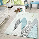 Kids Rug for Childrens Room Mountains Starry-Sky in Light Blue Gray White, Size:5'3' x 7'7'
