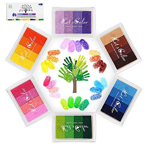 Funxim 24 Farben Stempelkissen Set, Fingerabdruck Stempelkissen Ungiftig Abwaschbar Tinte Stamp Pad für Papier Handwerk Stoff Malerei DIY Geburtstag Geschenk
