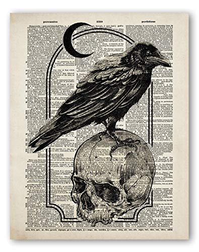 Edgar Allan Poe Wall Art - Skull and Raven Gothic Dictionary Style Print - Literature Poetry Gifts - 8x10 - Unframed