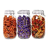 ComSaf Airtight Glass Canister Set of 3 with Lids 75oz Food Storage Jar Round - Storage Container with Clear Preserving Seal Wire Clip Fastening for Kitchen Canning Cereal,Pasta,Sugar,Beans,Spice