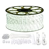 131.2ft Plug in LED Rope Lights, 1440 Daylight White LEDs, 110V, 2 Wire, Waterproof, Connectable, Power Socket Connector Fuse Holder, Indoor/Outdoor Use, Ideal for Backyards, Decorative Lighting