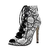 VJGOAL Sandalias para Mujer Moda Sexy Modelo de Piel de Serpiente Punta Abierta con Cordones Zapatos de tacón Muy Alto Tacones Finos Sandalias Tacón de Aguja(40 EU,Negro)