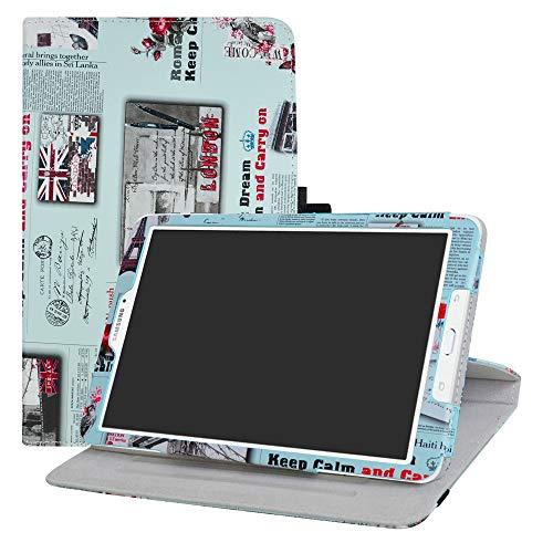 LFDZ Samsung Tab E 9.6 T560 draaiende Hoesje,PU leren Flip Hoesje met 360 graden draaiende houder Hoes voor Samsung Tab E SM-T560 / T561 / T565 9.6-Inch Tablet,Krant