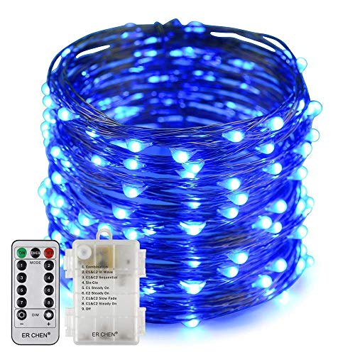 Fairy Lights Battery Operated String Lights D String Light 10M 100 D Fairy Lights 8 Modes with Remote for Xmas,Party,Bedroom,Wedding,Indoor/Outdoor (Blue,10M) BJY969 (Color : Blue, Size : 5M)