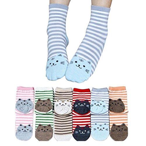 Auxma Socken Dame 6 Paar 3D Tiere gestreift Cartoon Socken Frauen Katze Spuren Baumwolle Socken von
