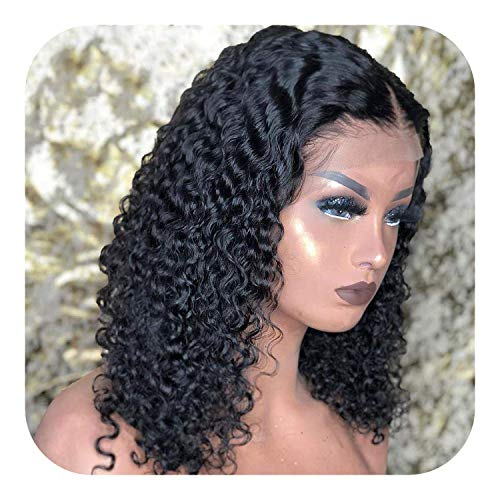 PJPPJH Perruques pour Femmes Cheveux Humains bouclés Courts Bob Avant de Lacet Perruque de Cheveux Humains pré plumés pour Les Femmes Noires sans Colle 13x4