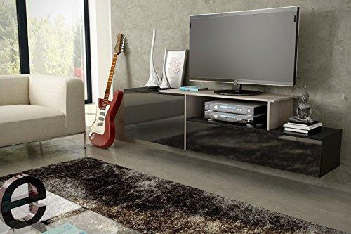 Jadella tv-meubel dressoir commode opknoping of staand hoogglans mat zwart. Sonoma eiken. Hangend.