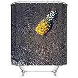 Epinki Polyester Duschvorhang Ananas am Strand Form Muster Waschbar Badewannenvorhang für Badezimmer 180x180CM