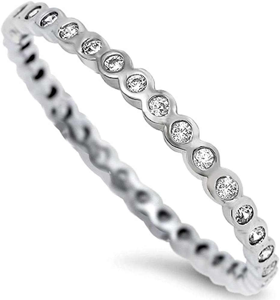 Oxford Diamond Co Our shop most popular Round Cubic Band Zirconia Sterli New color .925 Eternity