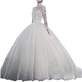 9136c6c878d Sexy High Neck Wedding Dresses for Bride with Sleeves Ball Gown Cathedral Lace  Bridal Wedding Gowns