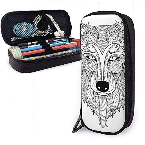 Federmäppchen muster wolf tiere zeichnung pu leder beutel aufbewahrungstaschen tragbare bleistift tasche reißverschluss brieftaschen