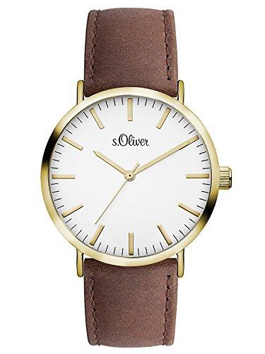 s.Oliver Unisex-Armbanduhr Analog Quarz Leder SO-3103-LQ