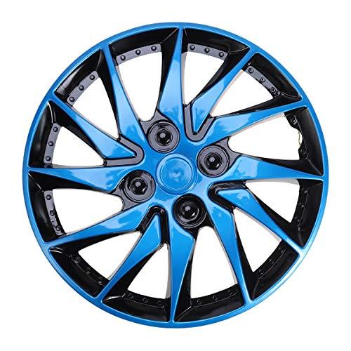 GUGSS Radkappen Set mit 4 Universal-Radzierblenden für Fast alle Fahrzeugtypen, Blau Schwarz, 15 Zoll