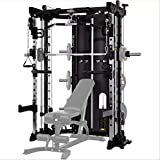 Commercial Home Gym - Smith Machine, Cables with Built in 160 kg Weights (Regular Black)