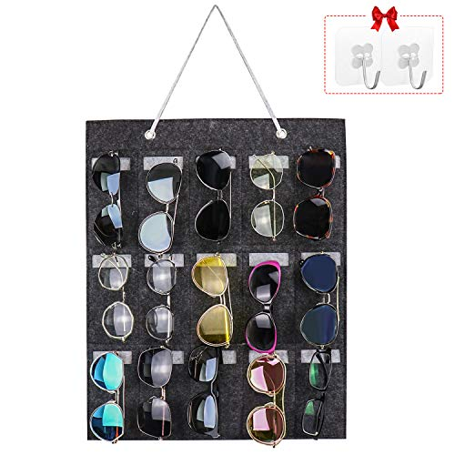 Yotako Organizador de almacenamiento para gafas de sol, montaje en pared, 15 ranuras, para colgar en la puerta o pared con 2 ganchos transparentes (gris)