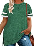 LANREMON Plus-Size Womens Tops Summer Short Sleeve Crew Neck T-Shirts Striped Tunics Green