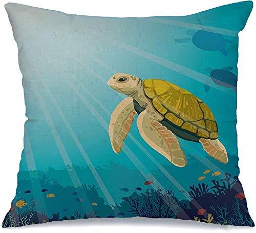 Funda de Cojine Throw CojínVida linda tortuga amarilla tortuga bajo arrecife de coral peces animales parques de vida silvestre reptiles al aire libre en Fundas para almohada 45X45CM