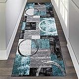 ZVEZVI Teppich Läufer Flur Korridor Schlafzimmer Küche Grau und Blau 60×200cm rutschfest Waschbar Bunter Modern Kücheläufer Teppichläufer Polyester Meterware Anpassbar (Color : Gray+Blue+Black)