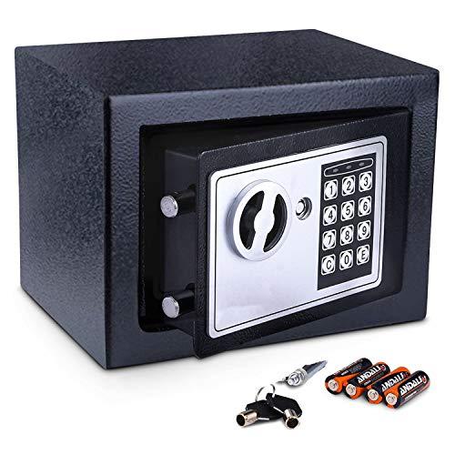 Meykey Caja Fuerte Pequeña Caja Seguridad 230X170X170 mm, Negro