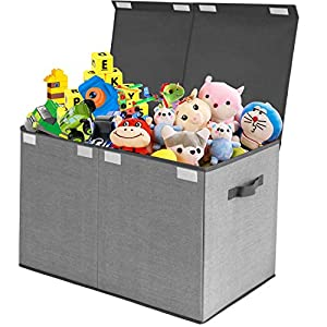 Toy Chest Storage Organizer with Flip-Top Lid,Kids Large Collapsible Box Bins for Nursery, Playroom, Closet, Home Organization(Grey)