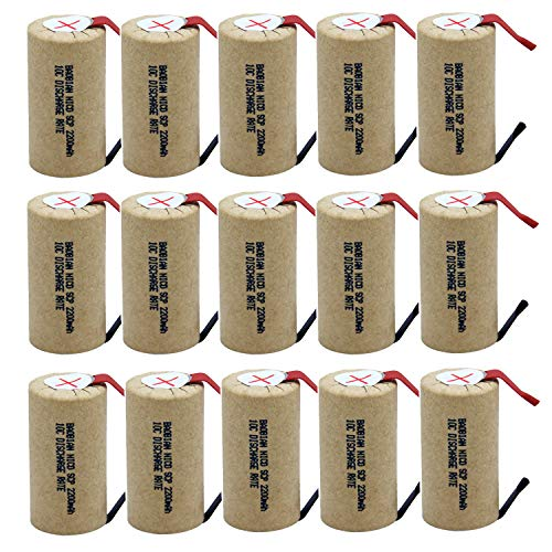 BAOBIAN SubC Sub C 2200mAh 1.2V Ni-CD 10C Discharge Rate Rechargeable Battery Cell with Tabs for Power Tools (15Pcs)