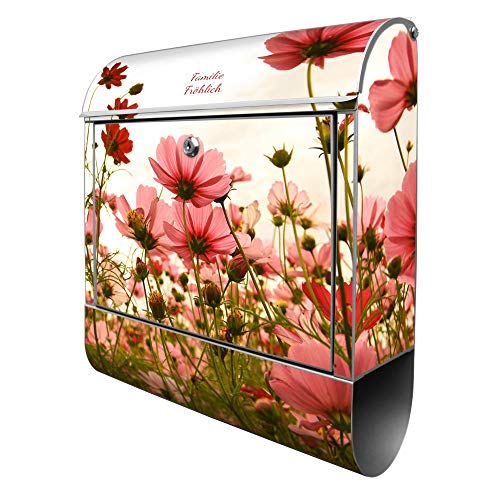 Banjado Design Briefkasten personalisiert mit Motiv Schmuckkörbchen | Stahl pulverbeschichtet mit Zeitungsrolle | Größe 39x47x14cm, 2 Schlüssel, A4 Einwurf, inkl. Montagematerial