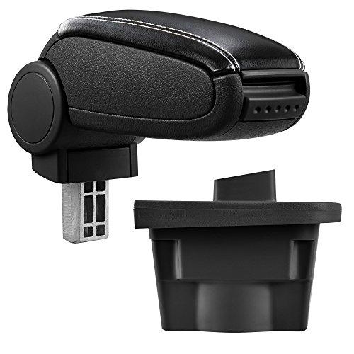 ProTec Car Apoyabrazos Perfekt Fit Center Console + Inkl. Cubierta de cuero de almacenamiento caja de imitación para negro cosido blanco (cubierta de cuero)