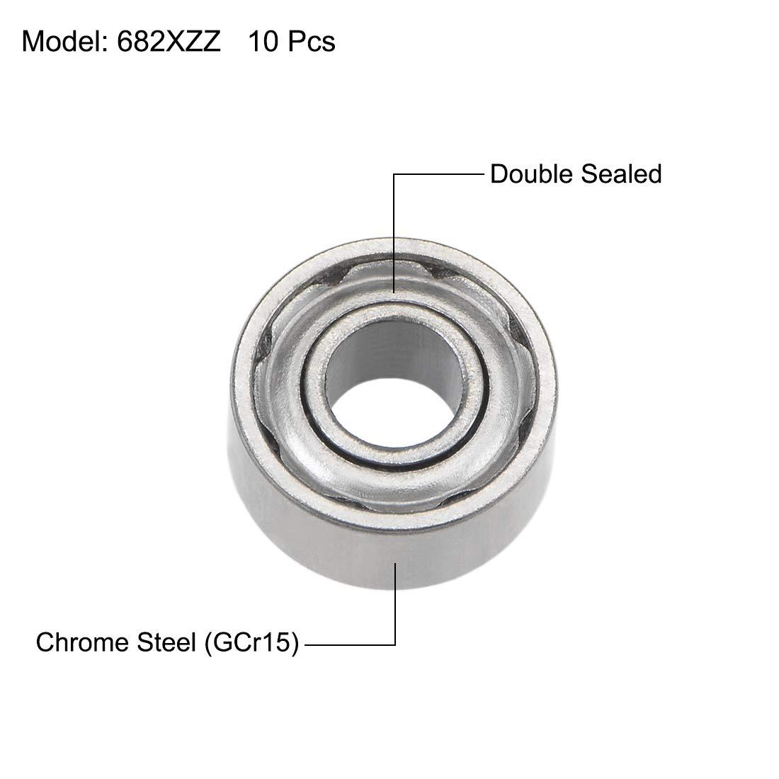 sourcing map 681XZZ Deep Groove Ball Bearings 1.5mm Inner Dia 4mm OD 2mm Bore Double Shielded Chrome Steel Z2 20pcs