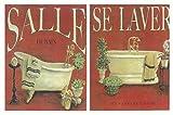 Placas de Madera Decorativas de baño. Bañeras Tonos Crema/Rojos Set de 2 Unidades de 19 cm x 25 cm x 4 mm unid. Adhesivo FÁCIL COLGADO. Adorno Decorativo. Decoración Pared hogar