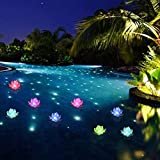 Floating Pool Lights,LED Pool Lights,Color-Changing Flower Lotus Night Lights CR2032 Battery Powered for Centerpieces, Pool Decoration 6 Pcs (Butterfly)