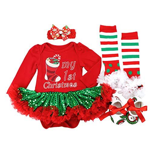 BabyPreg Bebe niña Mi Primera Navidad Vestido de Fiesta de Disfraces de Santa 4PCS (9-12 Meses, Calcetín Verde)