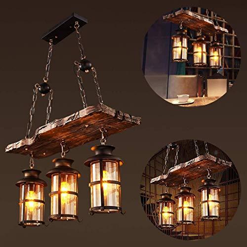 Pendelleuchte Vintage Industrielle Pendellampe schwarz Metall und Glas Holz Rustikal Kronleuchter Höhenverstellbar Für E27 Lampe Geeignet für Wohnzimmer Schlafzimmer Küche Esszimmer Hängelampe,3heads